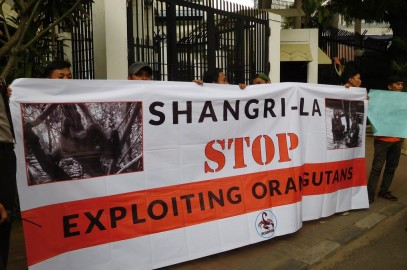 Shangri-La Protest Outside Malaysian Embassy in Jakarta